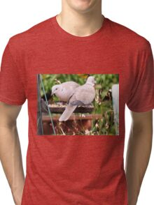 Two Doves Eating Bird Seeds Tri-blend T-Shirt