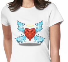 Fuzzy Heart with Wings! Womens Fitted T-Shirt