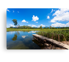 Wetland pond and wooden bridge in a clear sky Canvas Print