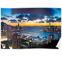Hong Kong skyline at sunset Poster
