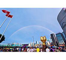 Rainbow in city Photographic Print