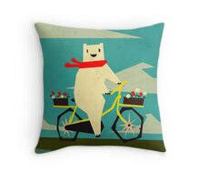 Yeti taking a Ride Throw Pillow