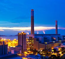 Power plant in Hong Kong at sunset by kawing921
