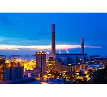 Power plant in Hong Kong at sunset Photographic Print