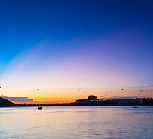 Sunset with cable car background by kawing921