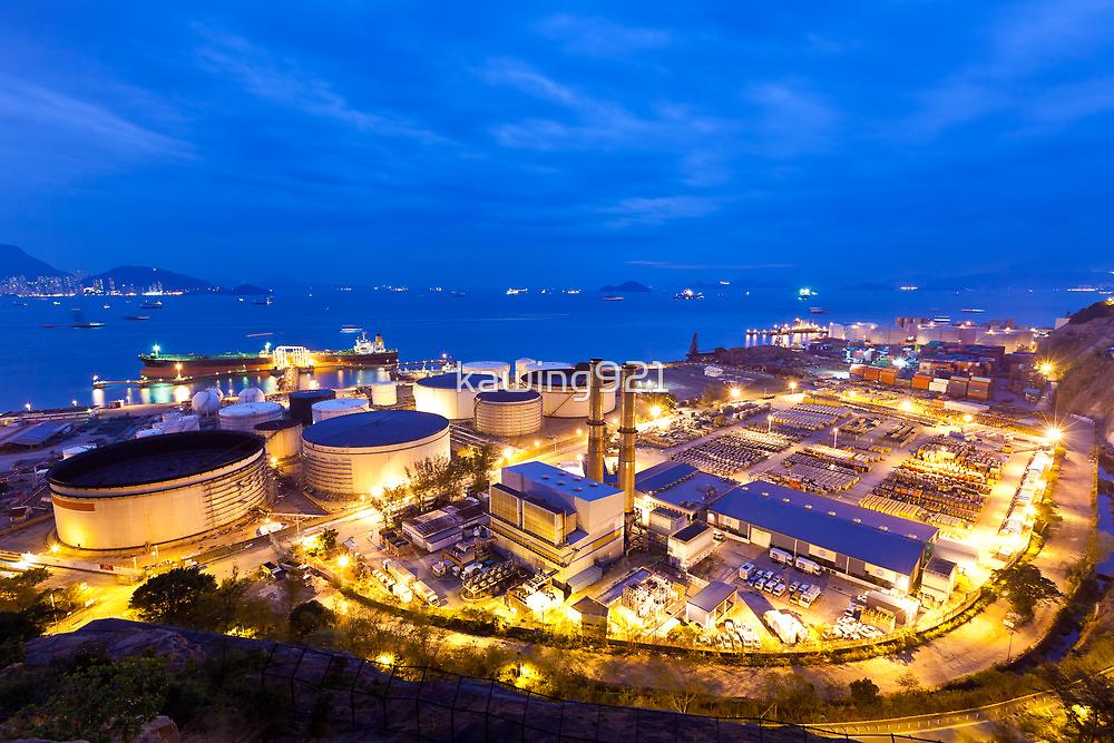 Oil tanks at night in Hong Kong by kawing921