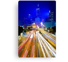 Hong Kong traffic at night Canvas Print