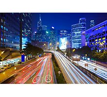 Busy traffic in Hong Kong at night Photographic Print