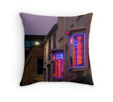 Tattoo Neon Signs Throw Pillow