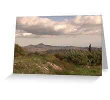 Lefkara Country Site & Clouds with oil brush Greeting Card