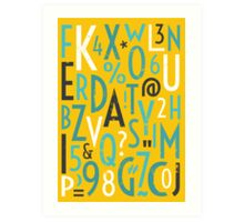 Retro Letters and Numbers Art Print
