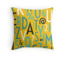 Retro Letters and Numbers Throw Pillow