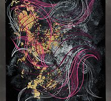 Abstract in gold leaf acrylic and pin striping by Richard Mordecki