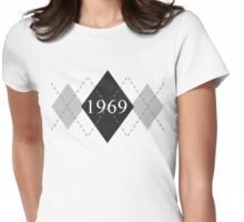 Abstraq Inc: 1969 Argyle (black) Womens Fitted T-Shirt
