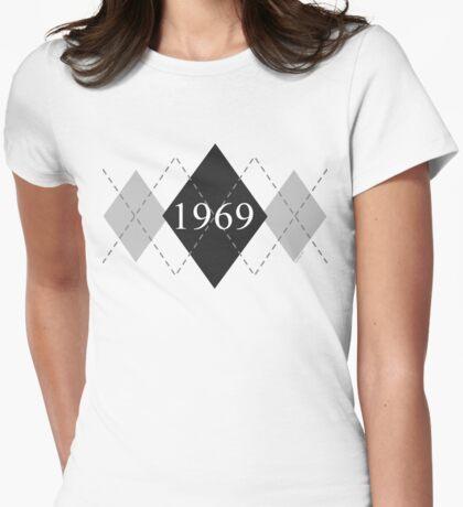 Abstraq Inc: 1969 Argyle (black) Womens Fitted T-Shirt
