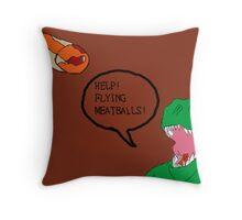 Prehistoric Flying Meatballs Throw Pillow