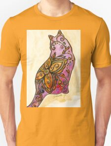 Orange & Purple Flower Kitty T-Shirt