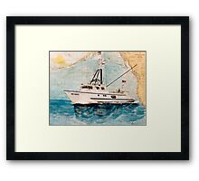 Tuna Fishing Boat HER GRACE Nautical Chart Cathy Peek Art Framed Print