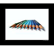 Caran D'Ache Colored Pencils In Different Shades Of Blue And Green Photographic Print