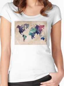 World Map cold World Women's Fitted Scoop T-Shirt