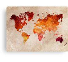 Map of the world Red World Canvas Print