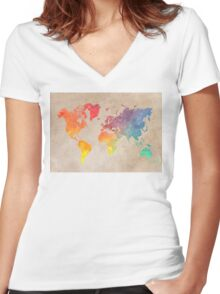 World Map maps Women's Fitted V-Neck T-Shirt