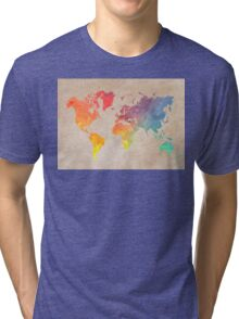 World Map maps Tri-blend T-Shirt