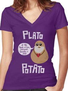 Plato Potato Women's Fitted V-Neck T-Shirt
