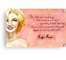 Marilyn Monroe- Keep smiling quote Canvas Print