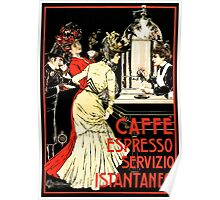 Vintage antique Italian coffeehouse advertising Poster