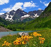 Maroon Bells with Wildflowers by diamondphotogal