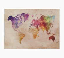 Map of the world art watercolor Kids Tee