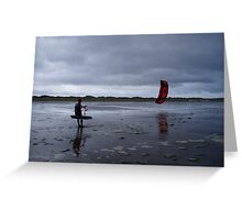 Atlantic storm approaches man with hand glider on Inch Beach. Greeting Card