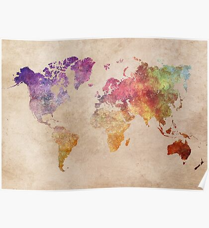 Map of the world art watercolor Poster
