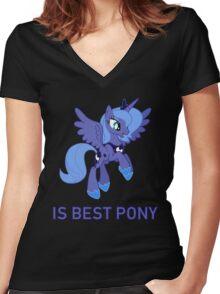 Princess Luna Is Best Pony - MLP FiM - Brony Women's Fitted V-Neck T-Shirt