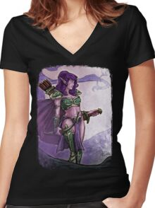 Elf Huntress Women's Fitted V-Neck T-Shirt