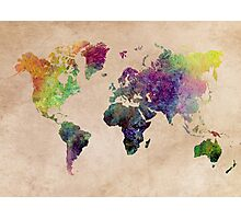 Watercolor world Map art Photographic Print