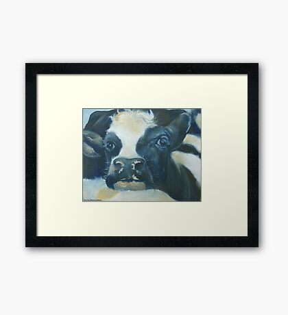 You Can Lean on Me Too --- Cow portrait Framed Print