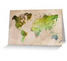 Green World Map ecology Greeting Card