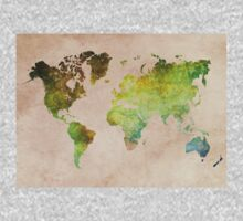 Green World Map ecology One Piece - Long Sleeve