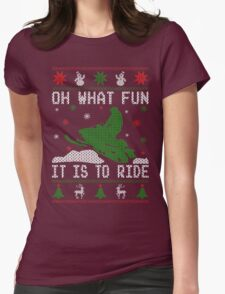 Snowmobile Ugly Christmas Tees Womens Fitted T-Shirt