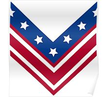 Red White and Blue Stars and Stripes Chevron Poster