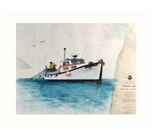 Salmon Gillnetter ENDURANCE AK Nautical Chart Cathy Peek Art Print