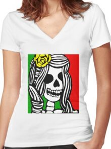 Rasta skeleton girl. Women's Fitted V-Neck T-Shirt
