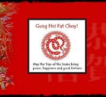 Red Snake brocade New Year by CatalystBC