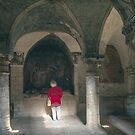 Marj in Crypt at Bayeux Cathedral 198402180059  by Fred Mitchell