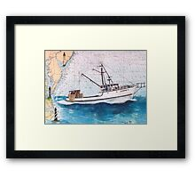 DARANA R Fishing Boat Nautical Chart Cathy Peek Framed Print