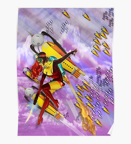 space ship invasion zapgun jetgirl Poster