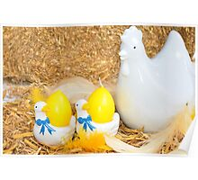 Easter chicken and egg decoration Poster