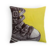Yellow Leather Buckles and a Tin Can Throw Pillow